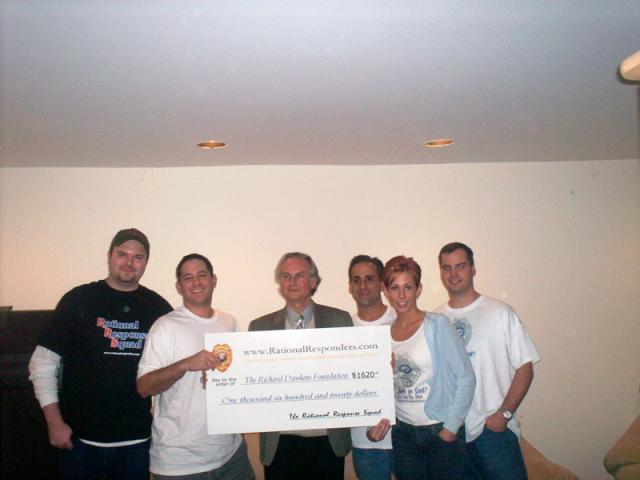 Presenting Richard Dawkins with a check