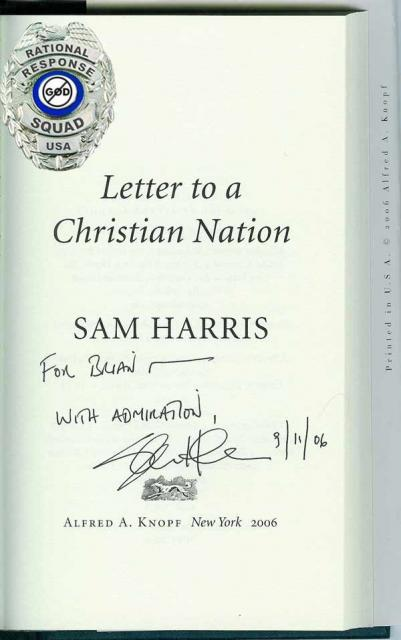 Sam Harris auto Letter to a Christian Nation