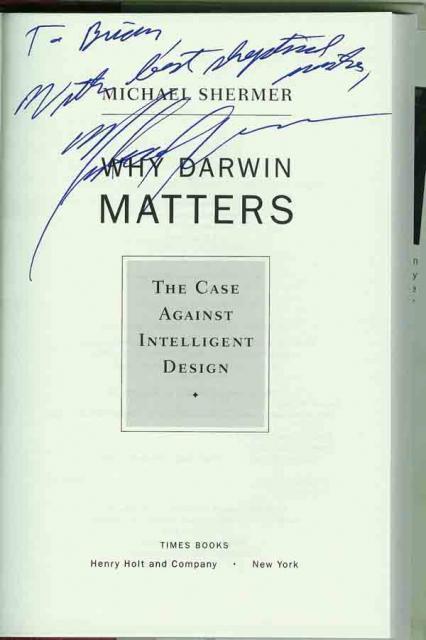 Michael Shermer auto'd Darwin Matters