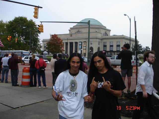 My bro and Me at the Bush Protest in Richmond Va, 10/19/06
